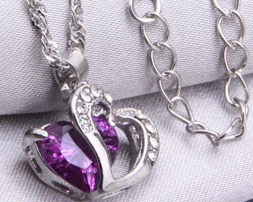 Love Purple Crystal Stone Silver Heart Necklace Romantic Wife Girlfriend UK Shop