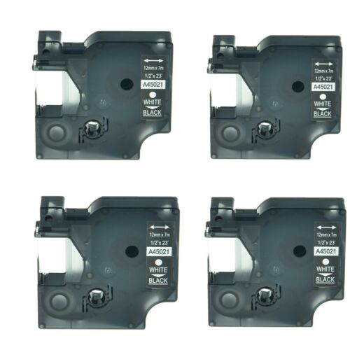 "4PK 12mm White on Black Label Tape For DYMO D1 45021 LabelManager Printer 1//2/"""