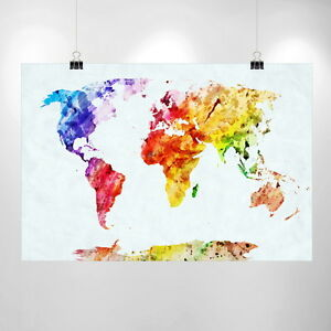 Image Is Loading Large Watercolor World Map Print Home Decor Print
