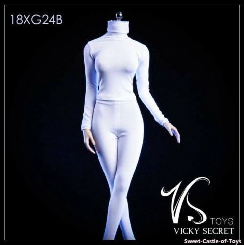 1//6 VStoys Accessory 18XG24-B Female High Collar Tights Clothes Pants White Set