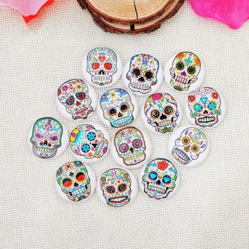 20PC 14 mm Mixed Sugar Skull Ronde en Verre Cabochon Dôme À faire soi-même Jewelry Craft