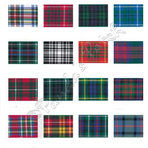 Choose Length Berisfords 70mm Polyester Tartan Ribbon 9 Colours Free UK Post