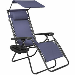 Ordinaire Best Choice Products Folding Zero Gravity Lounge Chair With Canopy Shade U0026  Magazine Cup Holder   Navy Blue