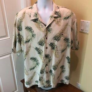 Luau-Mens-Silk-Blend-Green-and-Green-Hawaiian-Shirt-XL-Tropical
