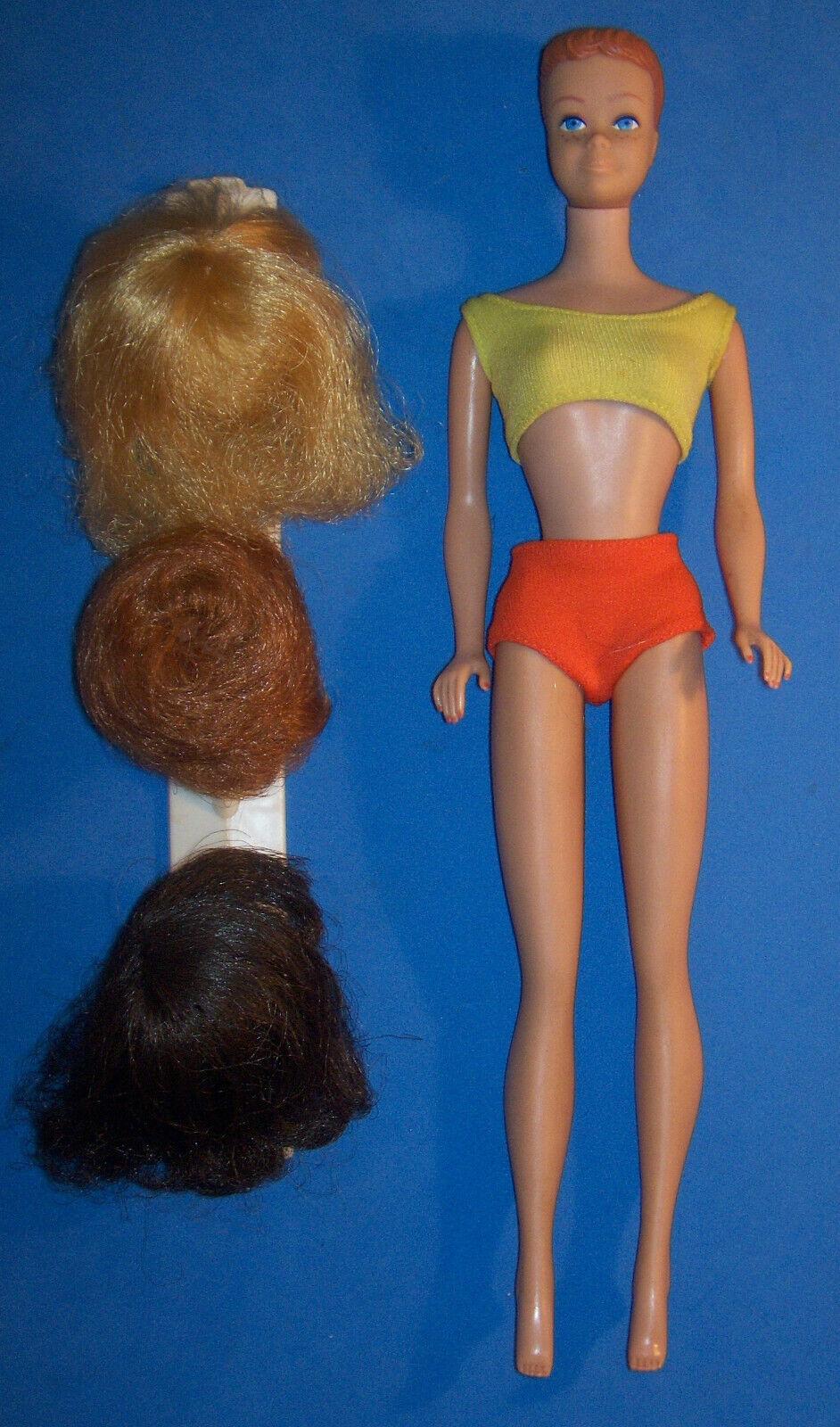 Cecidomia de la muñeca vintage 3 Peluca Armario 1009 SL Barbie 1964 OSS