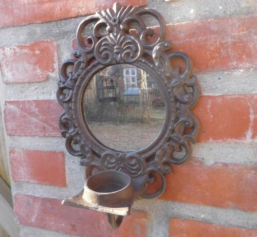 Wall Mounted Candle Holder Tealight Mirror Country Style Cast Iron Garden