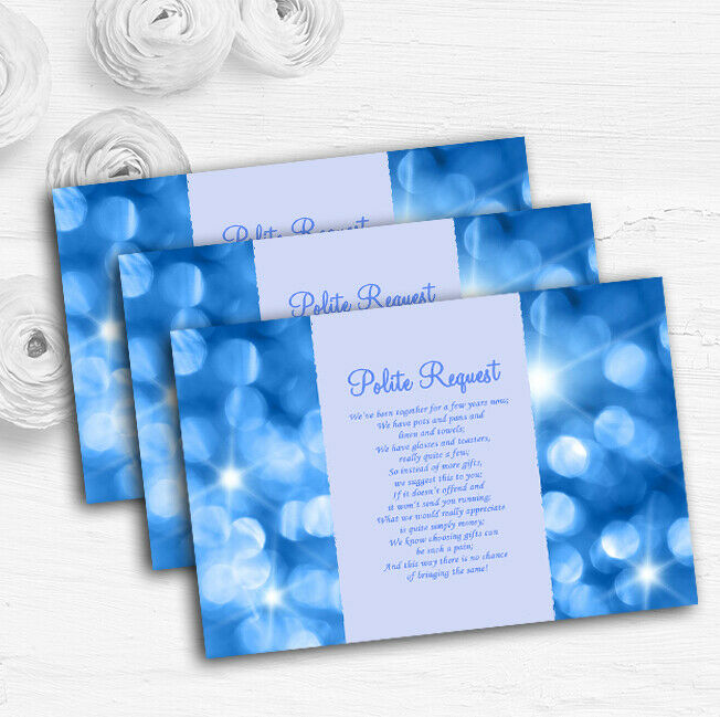 Twinkling Blau Lights Personalised Wedding Gift Cash Request Money Poem Cards