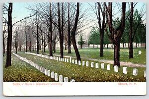 Elmira-NY-Woodlawn-Cemetery-Civil-War-Graves-w-Long-Row-of-Tombstones-c1905-PC