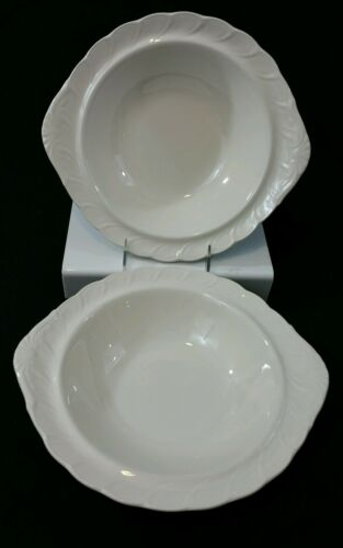 TWO Nikko Fine Tableware Crown White Round Vegetable Serving Bowls Scalloped