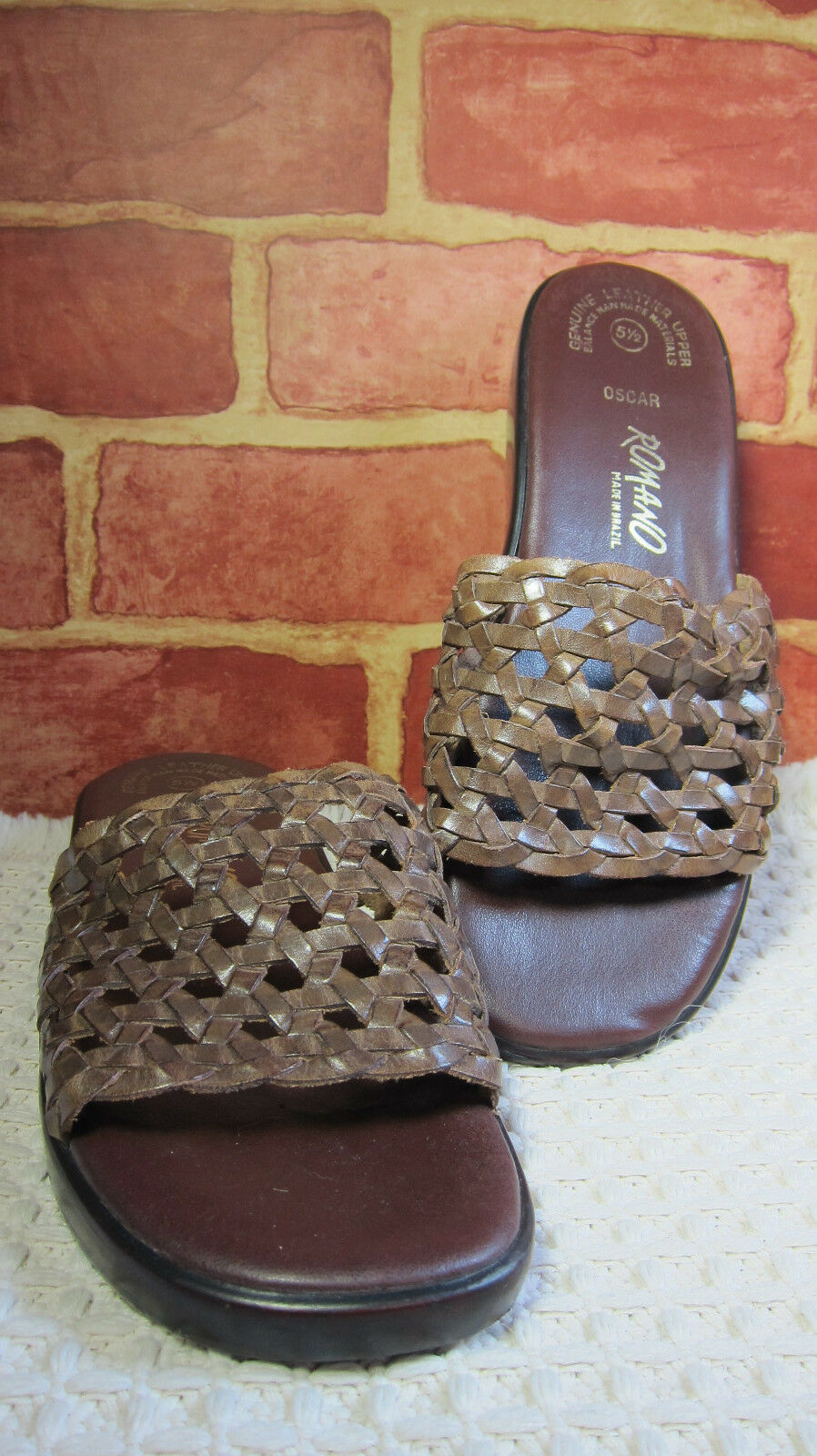 "Women's Romano ""OSCAR"" Size 5.5 Shoes Brown Leather  1.5"" Heel Made in Brazil237"