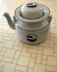 STIG-LINDBERG-Sweden-GUSTAVSBERG-Blue-Stoneware-Von-MING-Teapot-amp-Lid-LE4-S-555
