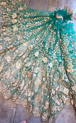 """1m green  BRIDAL embriouded SCALLOPED LACE  FABRIC 52/"""""""