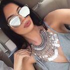 Flat Lens Flat Top Technologic Mirror Metal Frames Women Men Sunglasses
