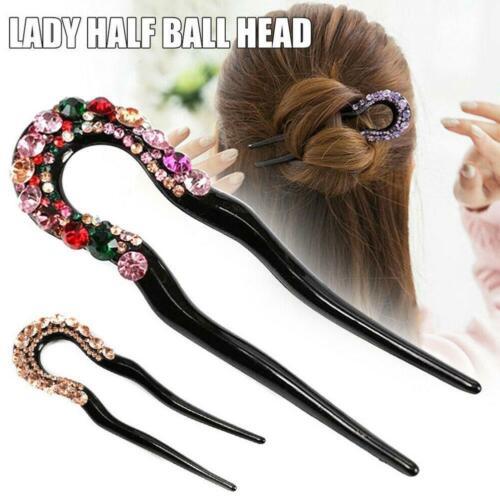 Women Crystal Rhinestone Double Prong Hair Pin Delicate Hairpin U-shape T2C1