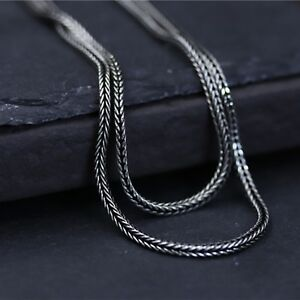 New-Hot-S925-Sterling-Silver-Chain-Unisex-Lucky-Wheat-Foxtail-Link-Necklace