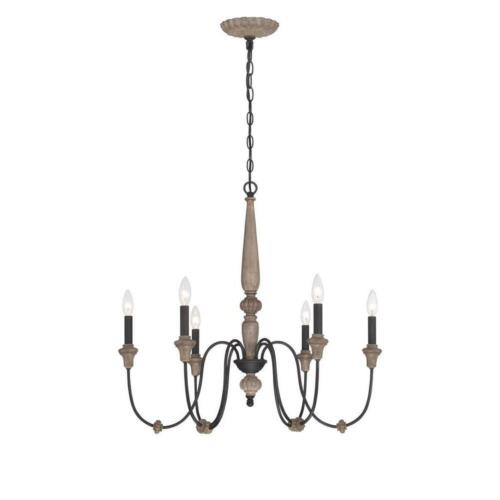 World Imports Capra 6-Light Rust Chandelier with Distressed Ivory Accents
