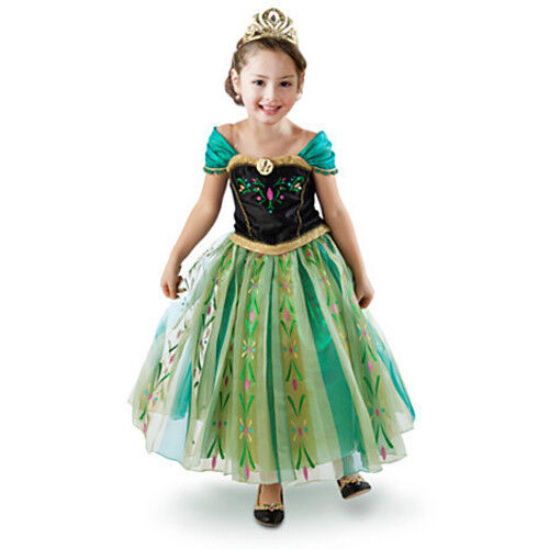 Women Girls Anna Queen Princess Fancy Dress Costume Party Outfit  Frozen
