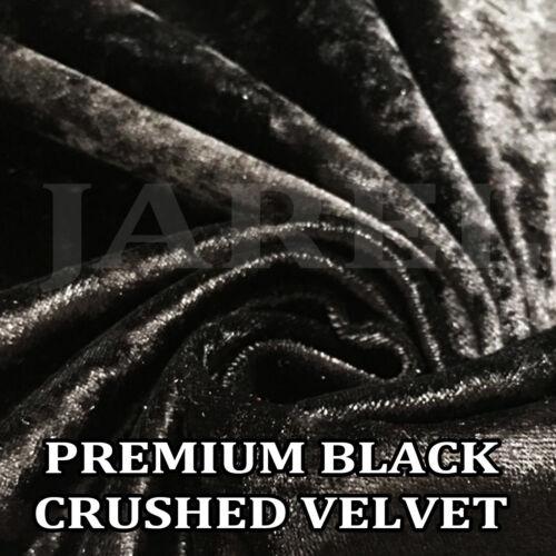 Premium Black Crushed Velvet Fabric soft flexible craft upholstery cushions