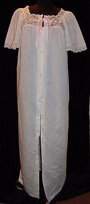 Vintage Notte Vestaglia Lingerie S Cotone Pizzo Bianco Profilo Rosa