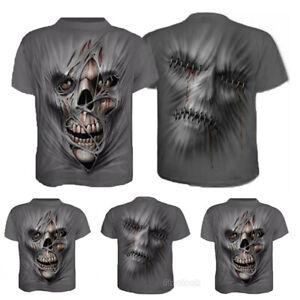 Skull-Face-3D-Print-Mens-Casual-Crew-Neck-T-Shirt-Short-Sleeve-Graphic-Tee-Tops