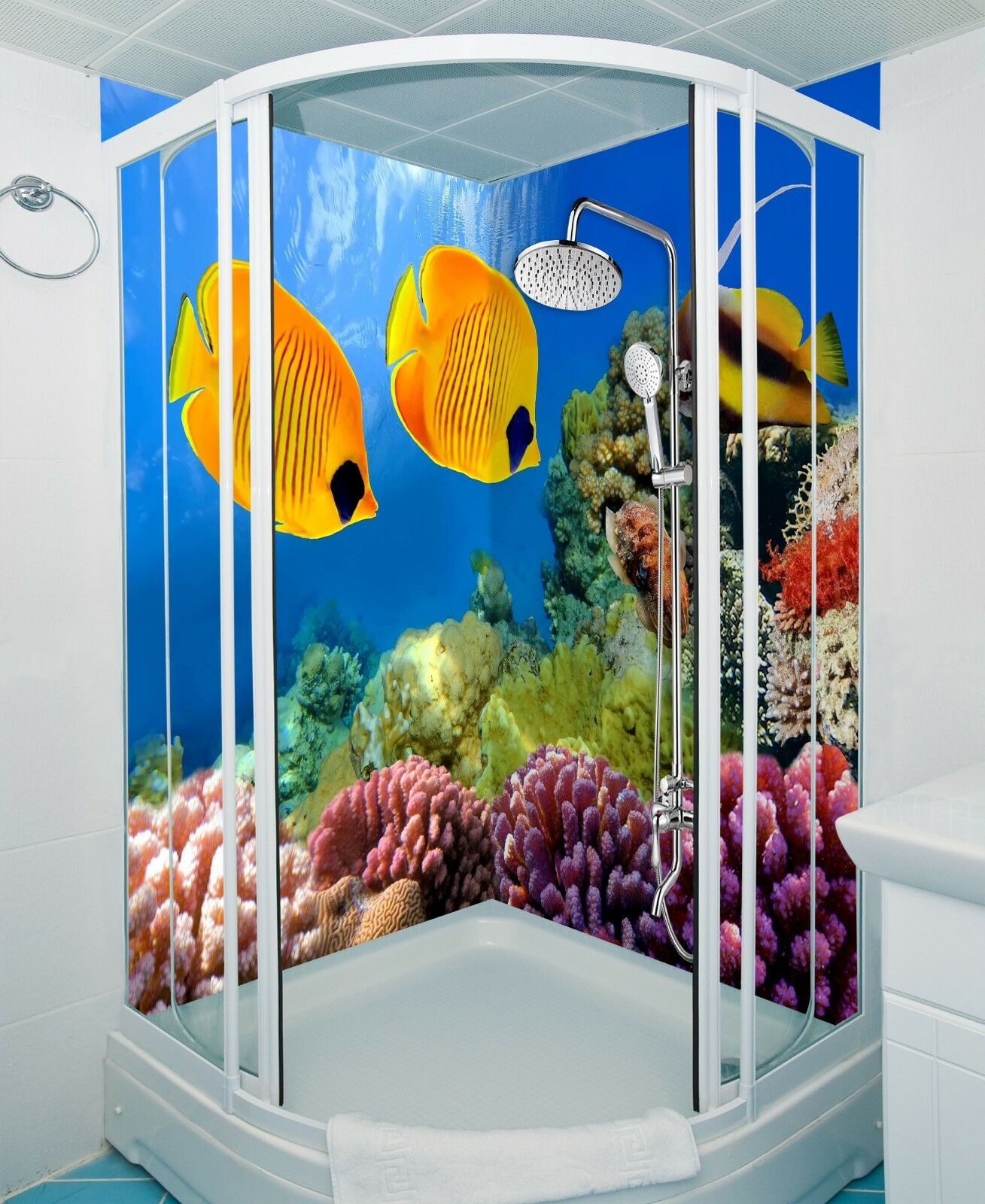 3D Seabed golden Fish6 WallPaper Bathroom Print Decal Wall Deco AJ WALL CA Carly