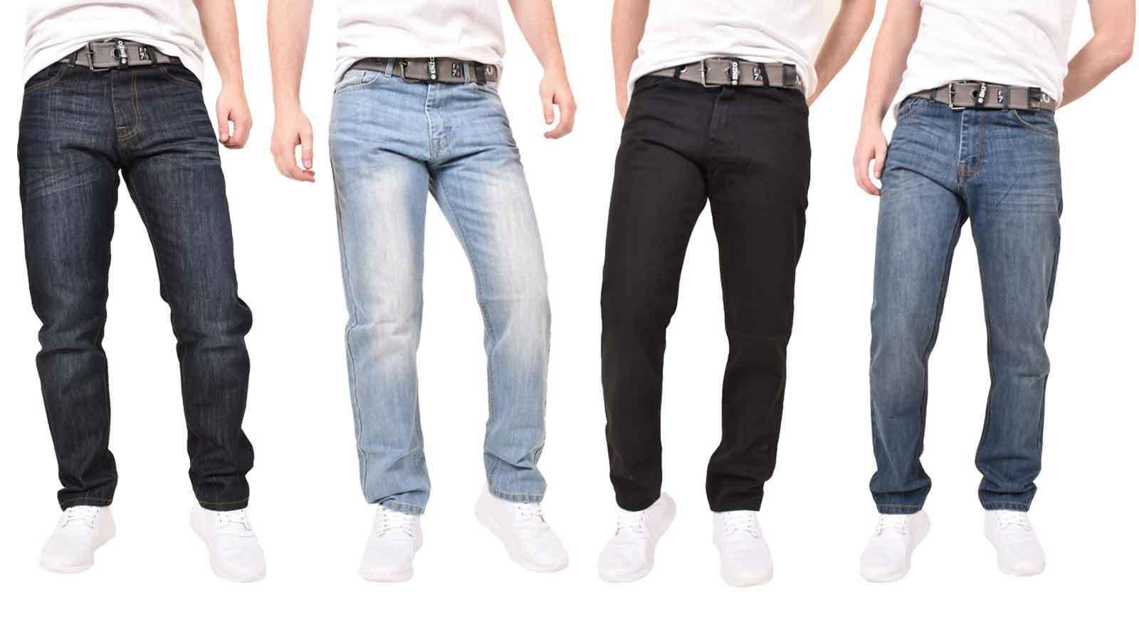 Men's Enzo Designer Jeans Regular Fit Denim Pants Big & Tall All Waist Sizes