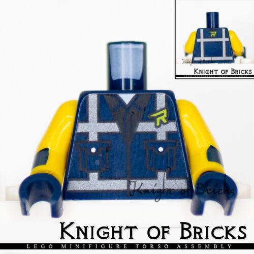 LEGO Minifigure Torso 447 DARK BLUE Safety Vest with Reflective Crossed Stripes