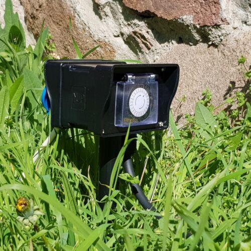 GIARDINO-presa ip44 con picchetto 250v 16a Protezione Coperchio contatto esterno-Presa di corrente