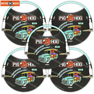 """5-Pack Pig Hog 1//4/"""" Daphne Blue Guitar 1ft Right-Angled Patch Cables 1//4/"""" NEW"""