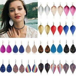 Boho-Women-Leaf-Teardrop-Leather-Earrings-Ear-Hook-Drop-Dangle-Fashion-Jewelry