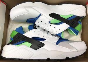 new concept 6bb85 afeb9 Image is loading Nike-Air-Huarache-White-Scream-Green-Royal-Blue-