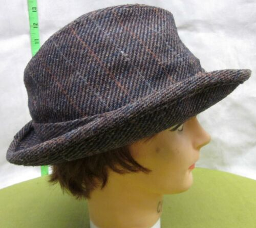 GANGSTER TRILBY small hat Plaid Fedora beat-up 196