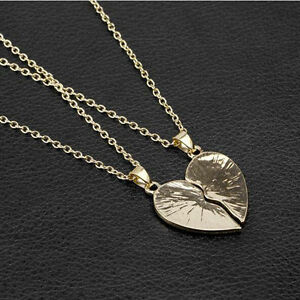 Friends forever two color gold and silver pendant necklace a pair image is loading friends forever two color gold and silver pendant aloadofball Images