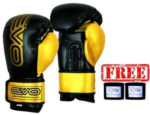 EVO-Maya-Leather-Boxing-Gloves-MMA-GEL-Punch-Bag-Muay-Thai-Kick-Boxing-UFC-Train
