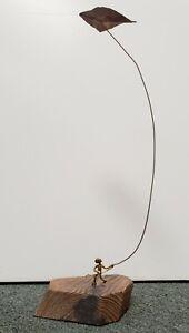 Mid-Century-Metal-Boy-Flying-Kite-on-Wood-Base-Folk-Art-Sculpture