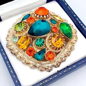 Vintage-Large-Signed-SPHINX-Green-Orange-Topaz-Crystal-Statement-Brooch-Pin