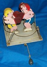 Old Handmade Wooden Toy Boxers Wood Kids Primitive Vintage Custom One-Off Boxing