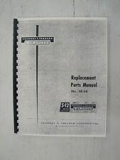 Kearney Amp Trecker S 12 Knee Type Milling Machine Replacement Parts Manual Sr 68