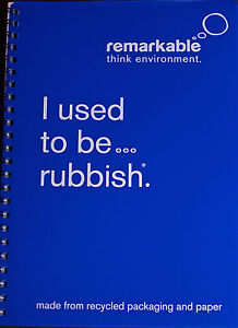CASELOAD x 50 REMARKABLE RECYCLED PACKAGING A5 WIREBOUND NOTEBOOK 80gsm 100pp