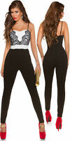 Sexy Party Jumpsuit Trousers Top size 8 10 12 14 16 playsuit black white lace