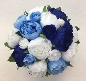 Light Blue Dark Blue White Peony Artificial Silk Flowers Bridal Wedding Bouquet Ebay