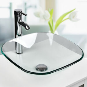 Square Bathroom Tempered Clear Glass Vessel Sink Counter Top Faucet