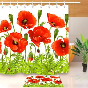Spring Poppy Flower Ladybugs Shower Curtain Set Waterproof Fabric