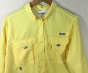 Columbia-PFG-Men-039-s-Performance-Fishing-Gear-Vented-Long-Sleeve-Shirt-Yellow-Sz-L