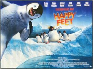 Happy Feet 2006 Original 40x30 British Quad Movie Poster Hugh Jackman Ebay