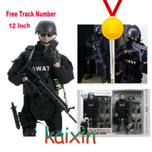 US 1//6 Soldier Figure Doll W SWAT Black Uniform Military Army Suit body full set