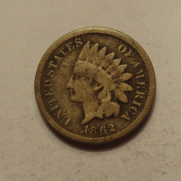 1862 INDIAN HEAD CENT, GOOD-VERY GOOD CONDITION