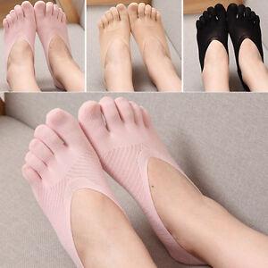 New-Women-Cotton-Blend-Lace-Antiskid-Invisible-Low-Cut-Socks-Toe-Ankle-Sock-JR