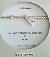 LIFE CHARMS #JUST BECAUSE DAUGHTER ❤ SILVER PLATED BIRD CHARM BRACELET  GIFT