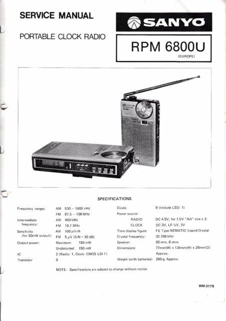 service manual instructions for sanyo rpm 6800 u ebay rh ebay com Sanyo Flat Screen TV Sanyo Logo